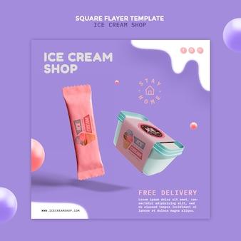 Flyer de magasin de crème glacée