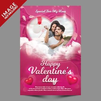 Flyer de maquette de photo de voeux de la saint-valentin