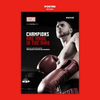 Flyer de modèle d'annonce de boxe