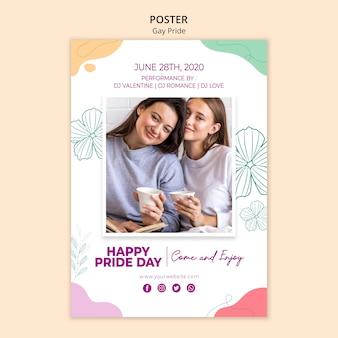 Flyer de modèle de fierté gay minimaliste