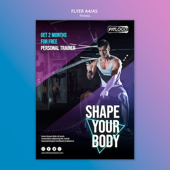 Flyer de modèle de formateur de fitness