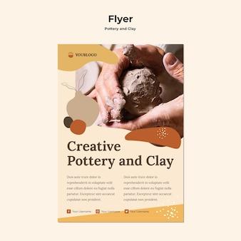 Flyer de modèle de poterie et d'argile