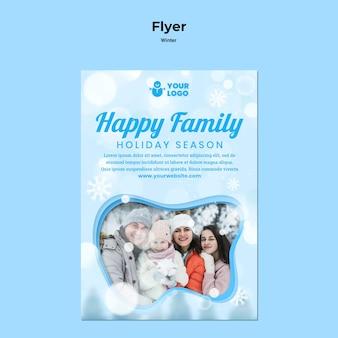 Flyer de modèle de temps en famille d'hiver