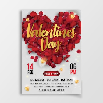Flyer party de la saint-valentin