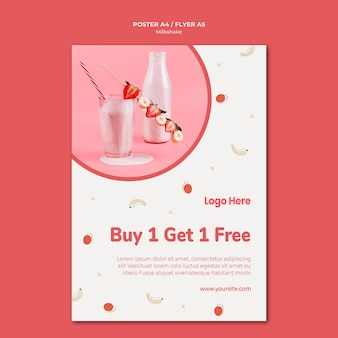 Flyer pour milkshake à la fraise