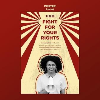 Flyer avec protestation pour les droits de l'homme