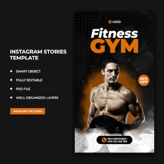 Flyer de remise en forme instagram stories publication sur les réseaux sociaux et bannière web