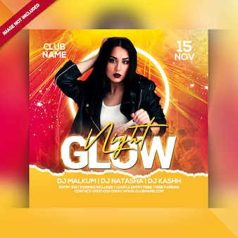 Flyer de soirée glow night