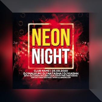 Flyer de soirée néon