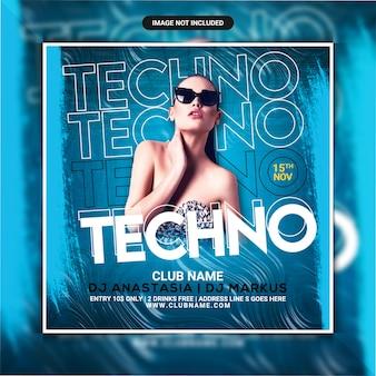 Flyer de soirée techno night club ou publication sur les réseaux sociaux