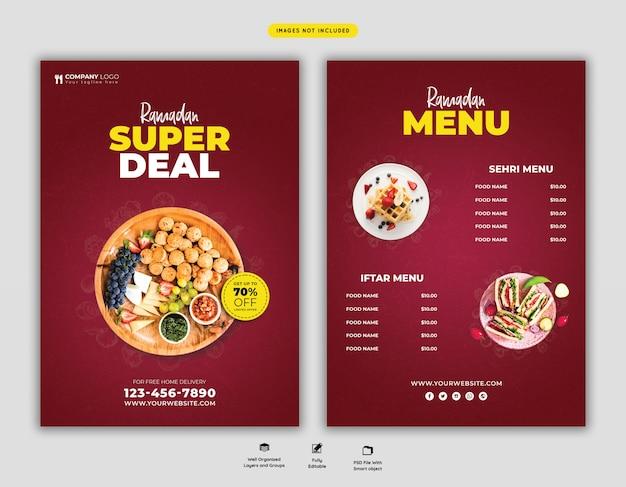 Flyer spécial menu alimentaire ramadan psd