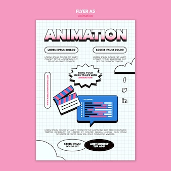 Flyer vertical pour l'animation par ordinateur