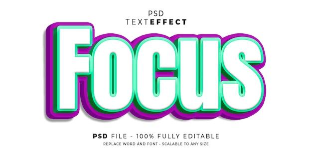 Focus modèle d'effet de style de texte 3d
