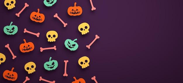 Fond de bannière d'halloween avec des citrouilles, des os, des crânes et un espace de copie en rendu 3d