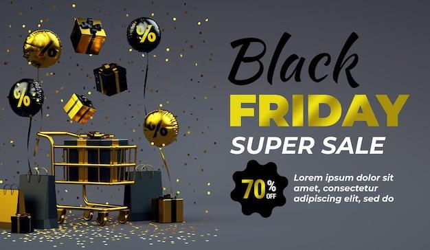 Fond de bannière de vente black friday avec des trucs de luxe dorés et un espace de copie en rendu 3d
