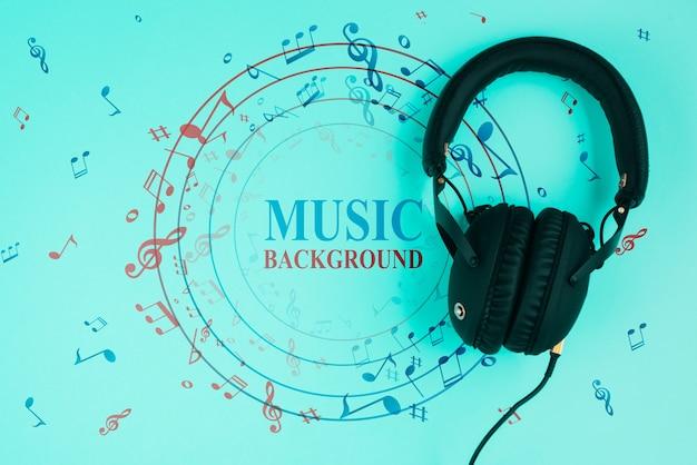 Fond bleu avec des notes de musique
