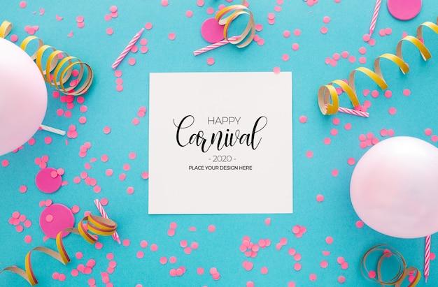 Fond de carnaval avec des confettis et des ballons sur bleu