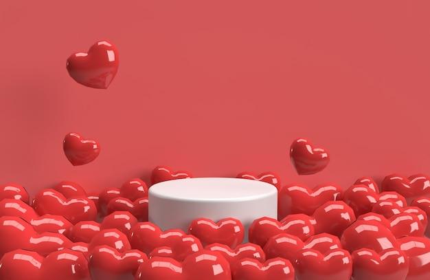 Fond de coeur 3d valentine avec beaucoup de scène de scène de produit coeur