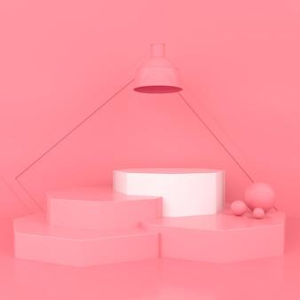 Fond de couleur pastel podium géométrique minimal pour la présentation du produit illustration de rendu 3d