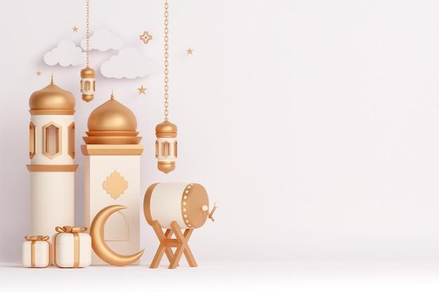 Fond de décoration d'affichage islamique avec croissant de lanterne de mosquée de tambour bedug et boîte-cadeau