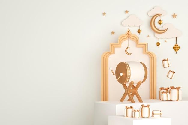 Fond de décoration d'affichage islamique avec ketupat de croissant de tambour bedug et boîte-cadeau