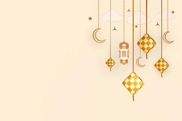 Fond de décoration d'affichage islamique avec lanterne en croissant de ketupat et nuage
