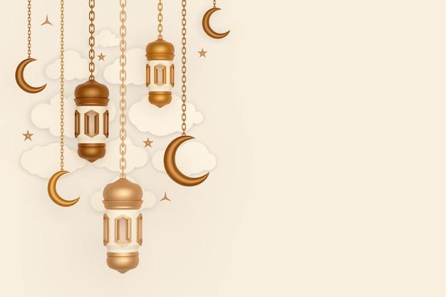 Fond de décoration d'affichage islamique avec lanterne en croissant et nuage