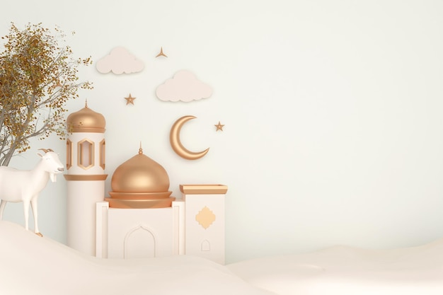 Fond de décoration d'affichage islamique avec mosquée et chèvre