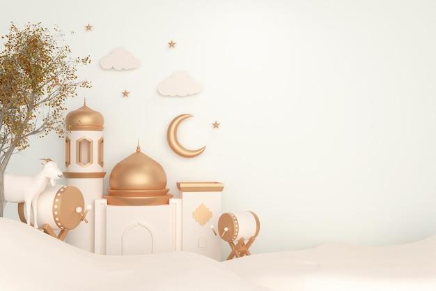 Fond de décoration d'affichage islamique avec mosquée de tambour bedug et chèvre