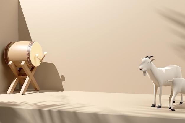 Fond de décoration d'affichage islamique rendu 3d avec chèvre tambour bedug