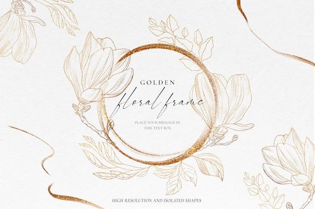 Fond floral avec nature dorée