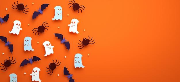 Fond de flyer d'halloween avec des fantômes, des chauves-souris, des araignées et un espace de copie en rendu 3d