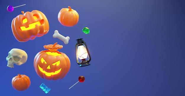 Fond d'halloween avec des bonbons flottants, des citrouilles et un espace de copie dans un rendu 3d réaliste