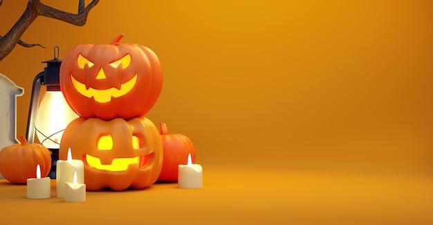 Fond d'halloween heureux avec des citrouilles et espace de copie dans un rendu 3d réaliste