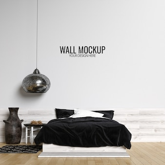 Fond de maquette de mur de chambre à coucher intérieure