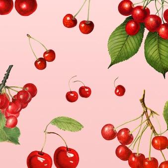 Fond à motifs de cerises rouges fraîches naturelles dessinées à la main