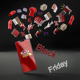 Fond noir de réduction de téléphone portable vendredi noir