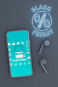 Fond noir vendredi avec maquette de téléphone