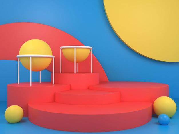 Fond de podium géométrique abstrait de couleur pastel pour le rendu 3d de la marque et de la présentation du produit