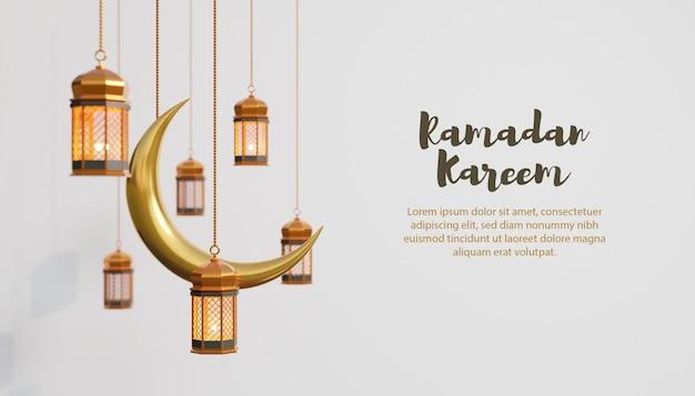 Fond de ramadan kareem avec lampe dorée et lune