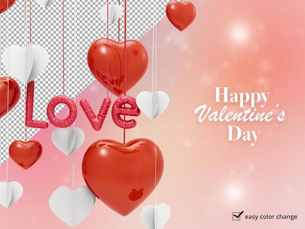 Fond de la saint-valentin avec coeurs et maquette de ballon d'amour