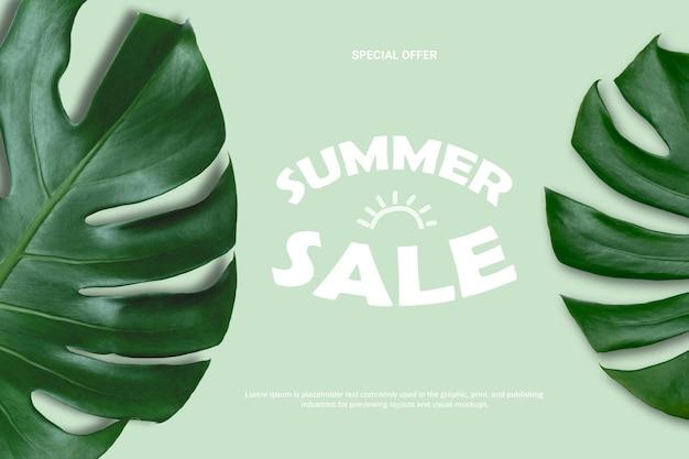 Fond de vente d'été nature de feuilles de monstera sur fond vert