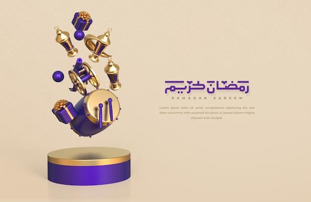 Fond de voeux ramadan kareem avec éléments décoratifs festifs islamiques 3d réalistes tombant