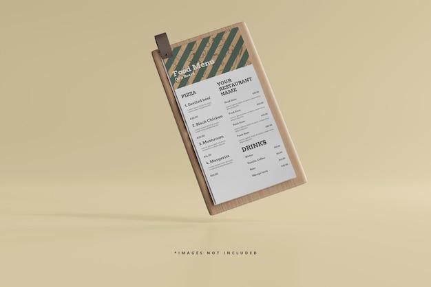 D food menu sur une maquette de planche de bois