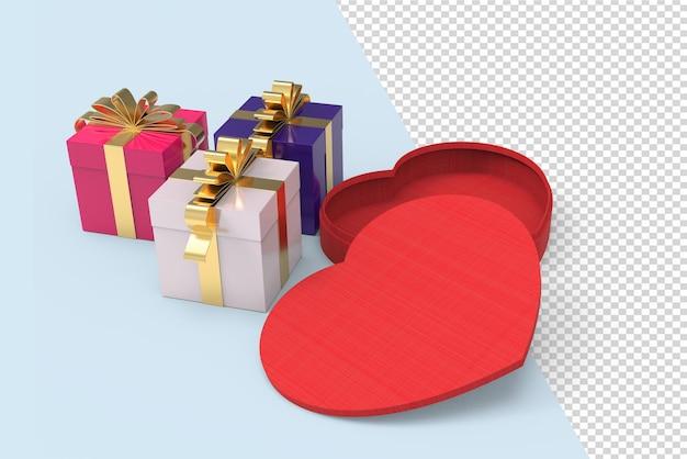 Forme de coeur d'amour et maquette de boîte cadeau 3d isolée