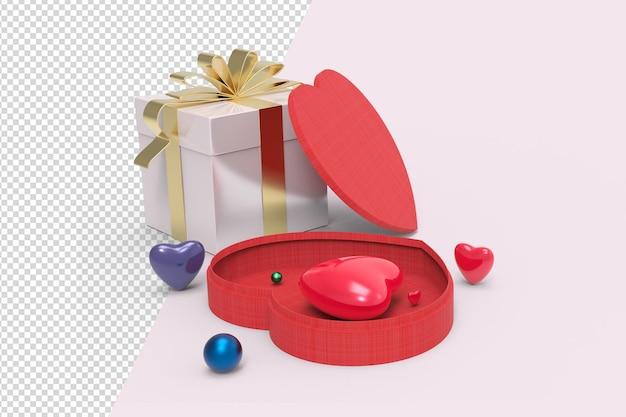 Forme de coeur et maquette de boîte cadeau 3d isolée