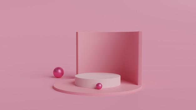 Forme de géométrie abstraite couleur blanche et podium de couleur rose