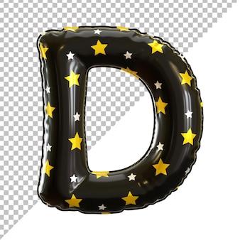 Forme de lettre d de ballon d'aluminium d'alphabet avec le modèle d'étoile