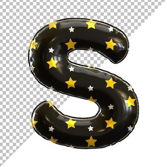 Forme de lettre s de ballon d'aluminium d'alphabet avec le modèle d'étoile