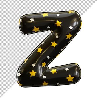 Forme de lettre z de ballon d'aluminium d'alphabet avec le modèle d'étoile
